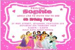 Personalised Disney Princess Invitations Design 2